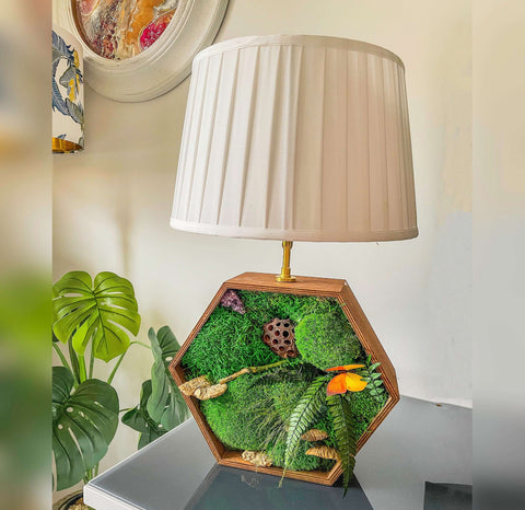 Table Lamp, Table beside wooden lamp, Wooden desk lamp, Moss lamp, bedside light, Wooden Hexagon lamp, wooden lighting, Christmas Gift, lamp, wooden lamp, rustic wooden lamp, wooden lamp base uk, rustic wooden lamp bases, wooden lamp shade, living room lamps, quirky lamps