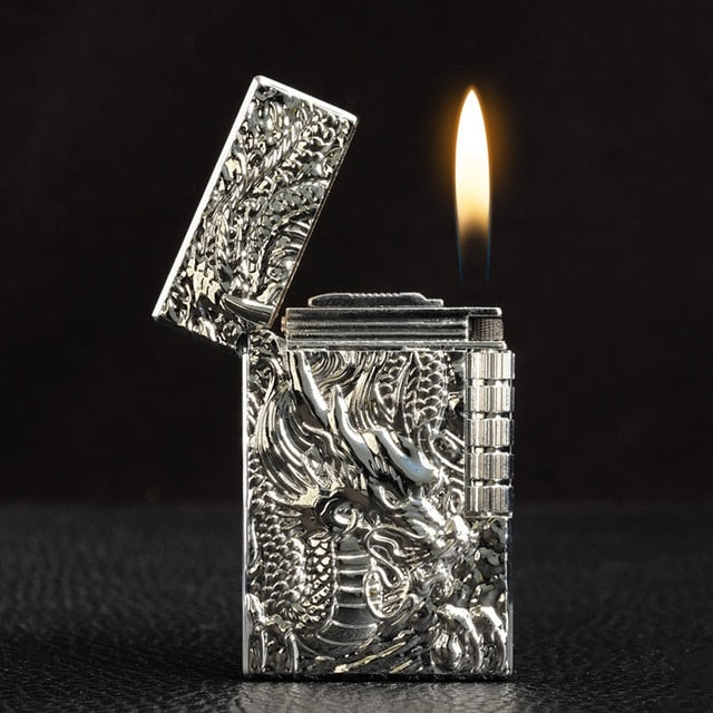 Ultra Thin Metal Vintage Embossed Lighter Grinding Gold Dragon