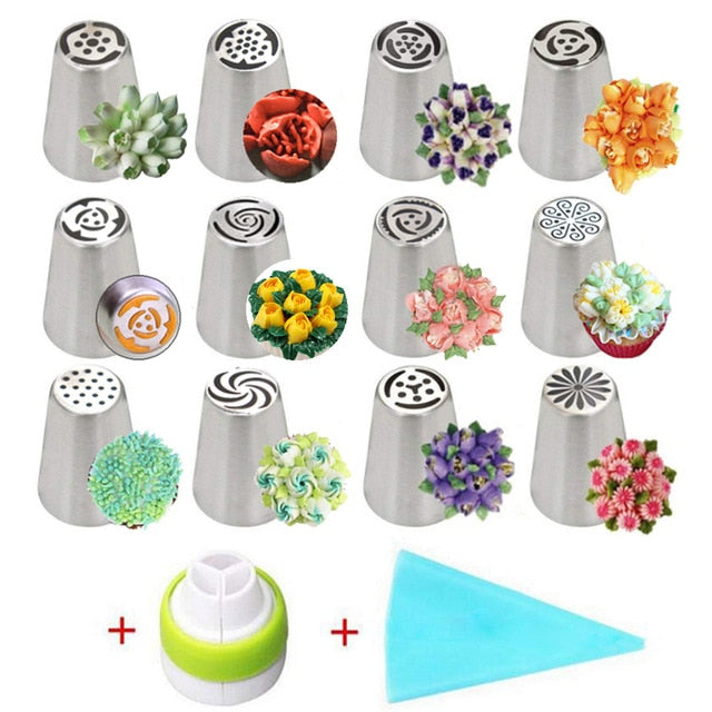 14pc Stainless Steel Russian Tulip Icing Piping Nozzles Cake Decorating Tips