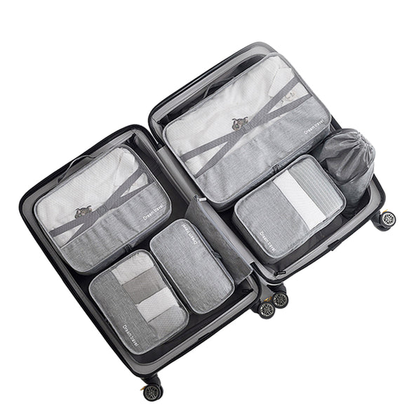 7PCS/Set High Quality Capacity Travel accessories kit Mesh storage Luggage Organizer Packing Cube for Clothing underwear bag