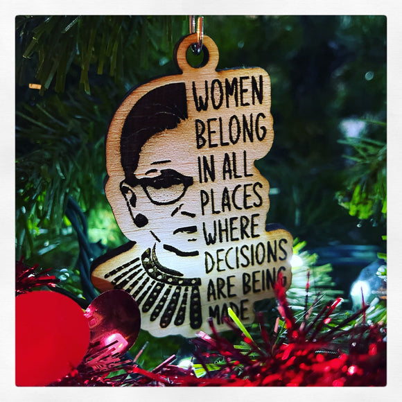 RBG wooden engraved ornament.