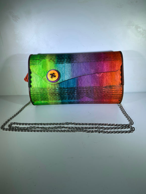 Rainbow wooden clutch.