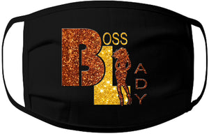 Face Mask-Boss Lady Copper/Gold Glitter 100% Jersey Cotton/3 Layers/Washable