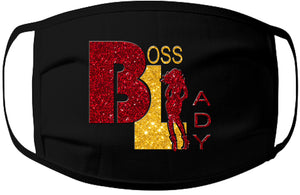 Face Mask-Boss Lady Red/Gold Glitter 100% Jersey Cotton /3 Ply /Washable