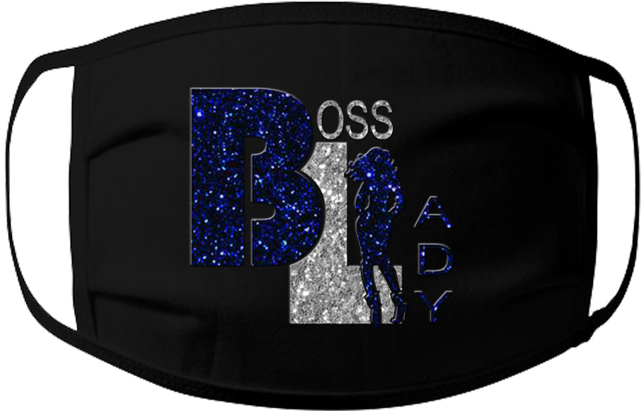 Face Mask-Boss Lady Royal Blue/Silver Glitter 100% Jersey Cotton /3 Ply /Washable