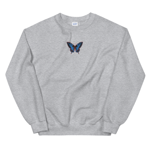 "Sweatshirt - ""BUTTERFLY"" EMBROIDERY - Grey"