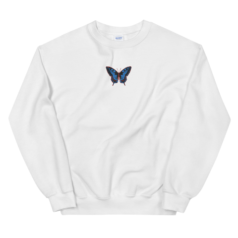 "Sweatshirt - ""BUTTERFLY"" EMBROIDERY - White"