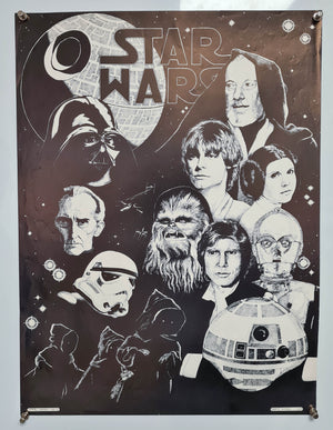 Star Wars - Robin Wood Artwork - Black and White - 1977 - Original Poster