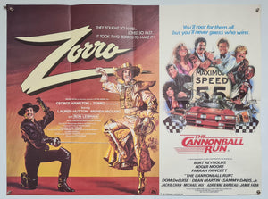 Zorro, The Gay Blade / The Cannonball Run - Double - 1981 - Original UK Quad