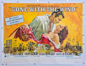 Gone With The Wind - Linen Backed - 1969 Re-release - Original UK Quad