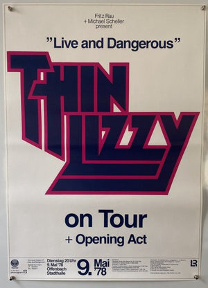 Thin Lizzy - Live And Dangerous - 1978 - Original German Tour Poster