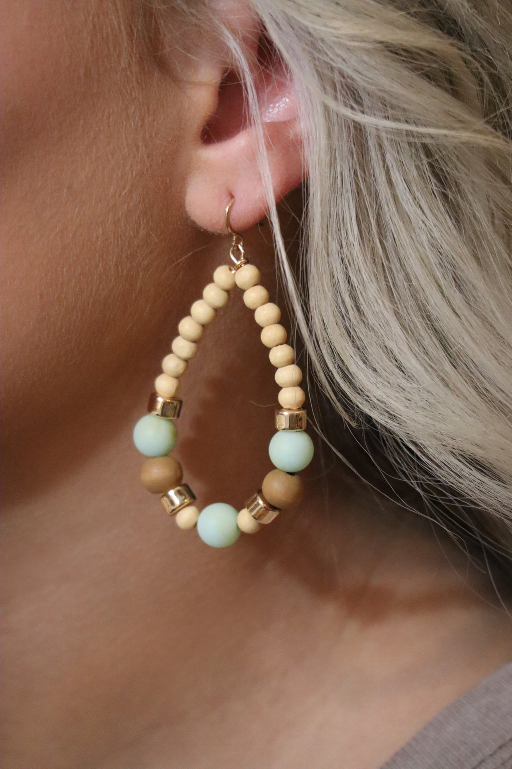 BLAIR'S BOHEMIAM EARRINGS - TAN & TEAL