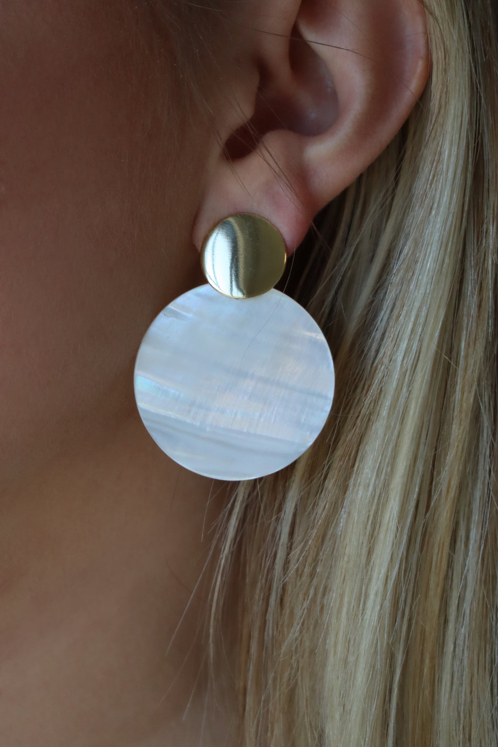 DEEDRA'S DOUBLE CIRCLE EARRINGS - GOLD & WHITE