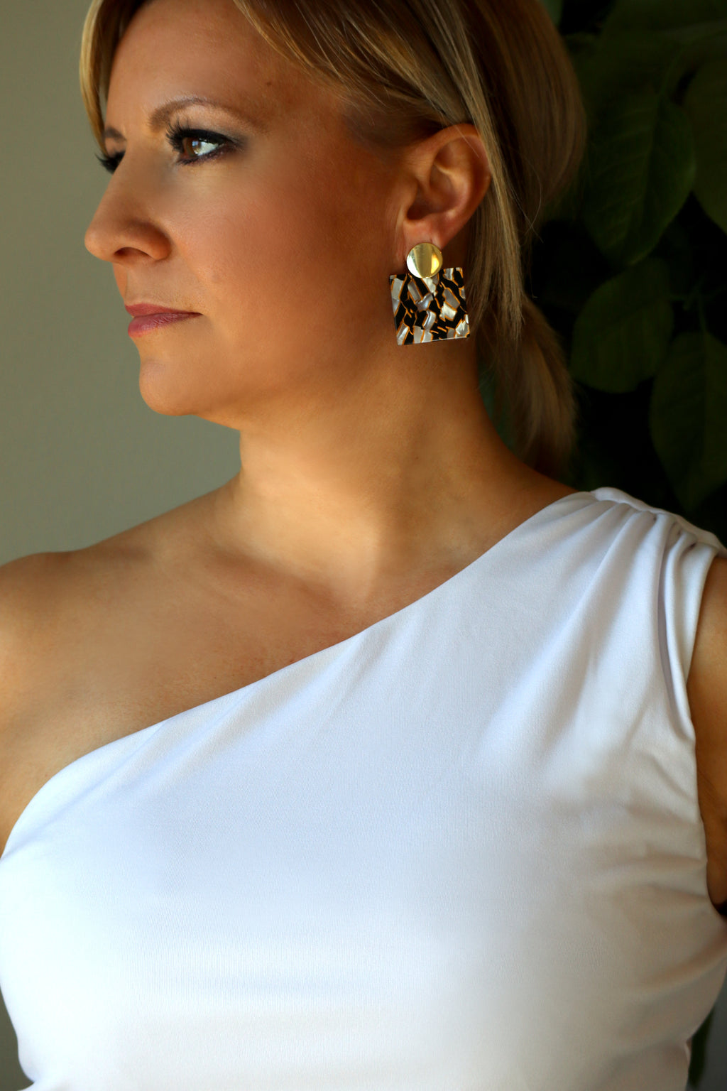 SKYLAR'S SQUARE EARRINGS - GOLD, BLACK, & WHITE