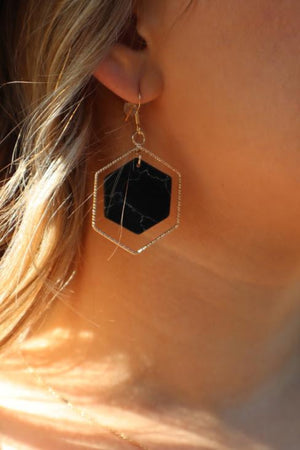 DEBBIE'S DOUBLED HEXAGON EARRINGS- BLACK & GOLD