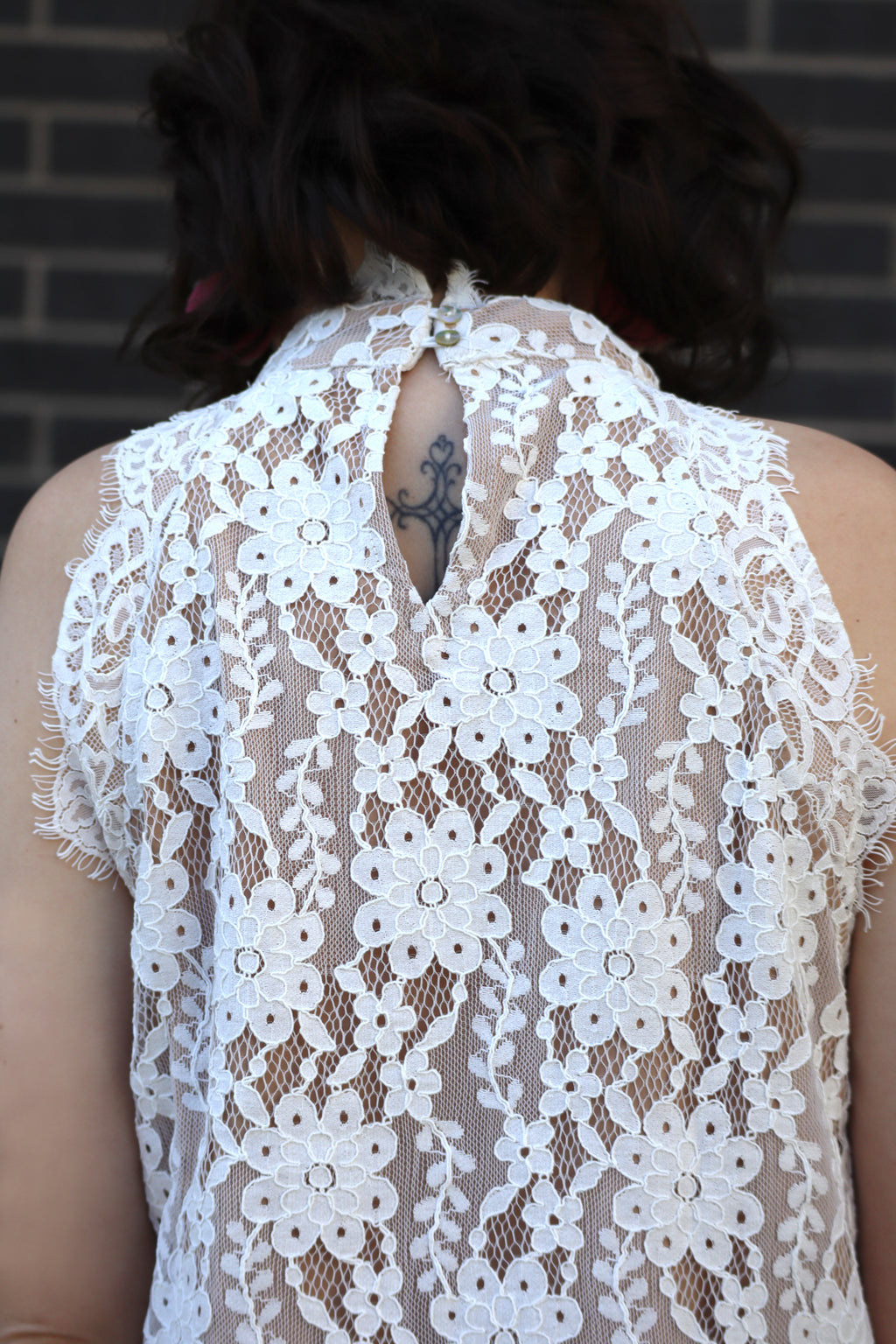 LACY'S LOVELY LACE BLOUSE - OFF WHITE