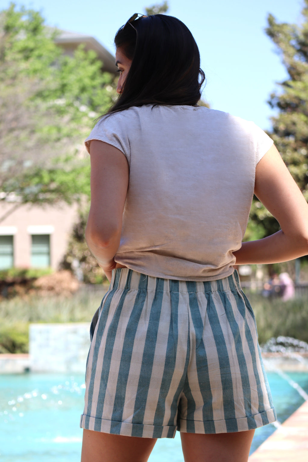 SAM'S STRIPE SHORTS - TEAL & SAND