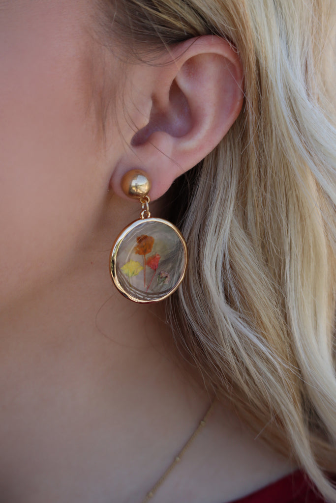 PRESLEY'S PRESSED FLOWER EARRINGS - GOLD & MULTI