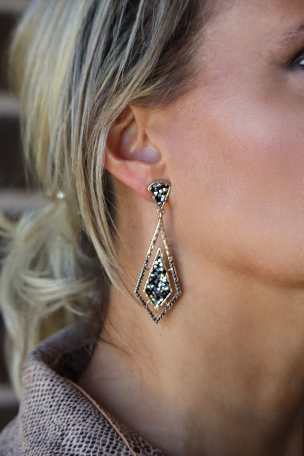 DAYNA'S DOUBLE DIAMOND EARRING - GOLD/BLACK/SILVER