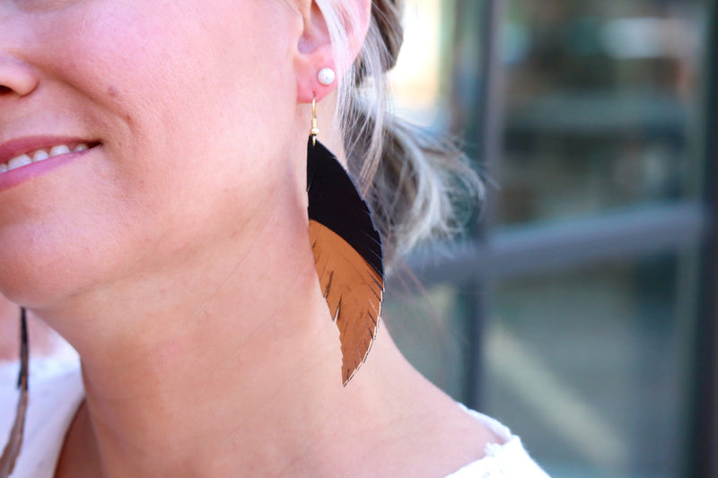 FAITH'S FEATHER EARRINGS – GOLD