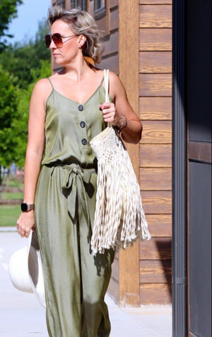 OLIVIA'S BOUJEE BUTTON-UP JUMPSUIT - OLIVE