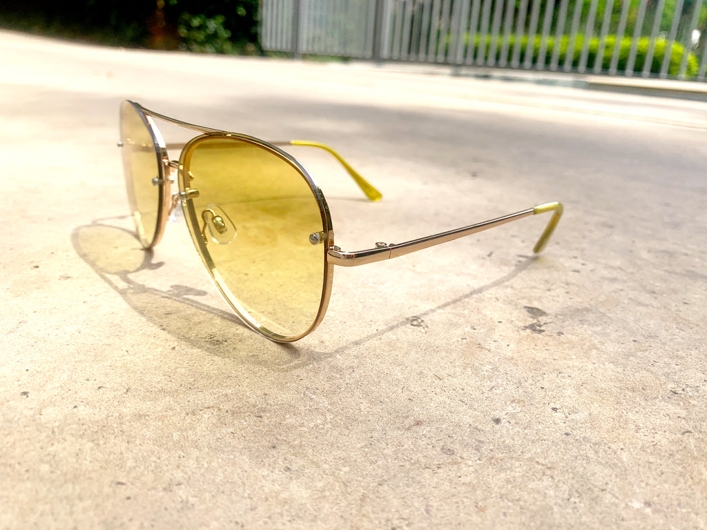 ARIEL'S AWESOME ATTITUDE AVIATORS - YELLOW