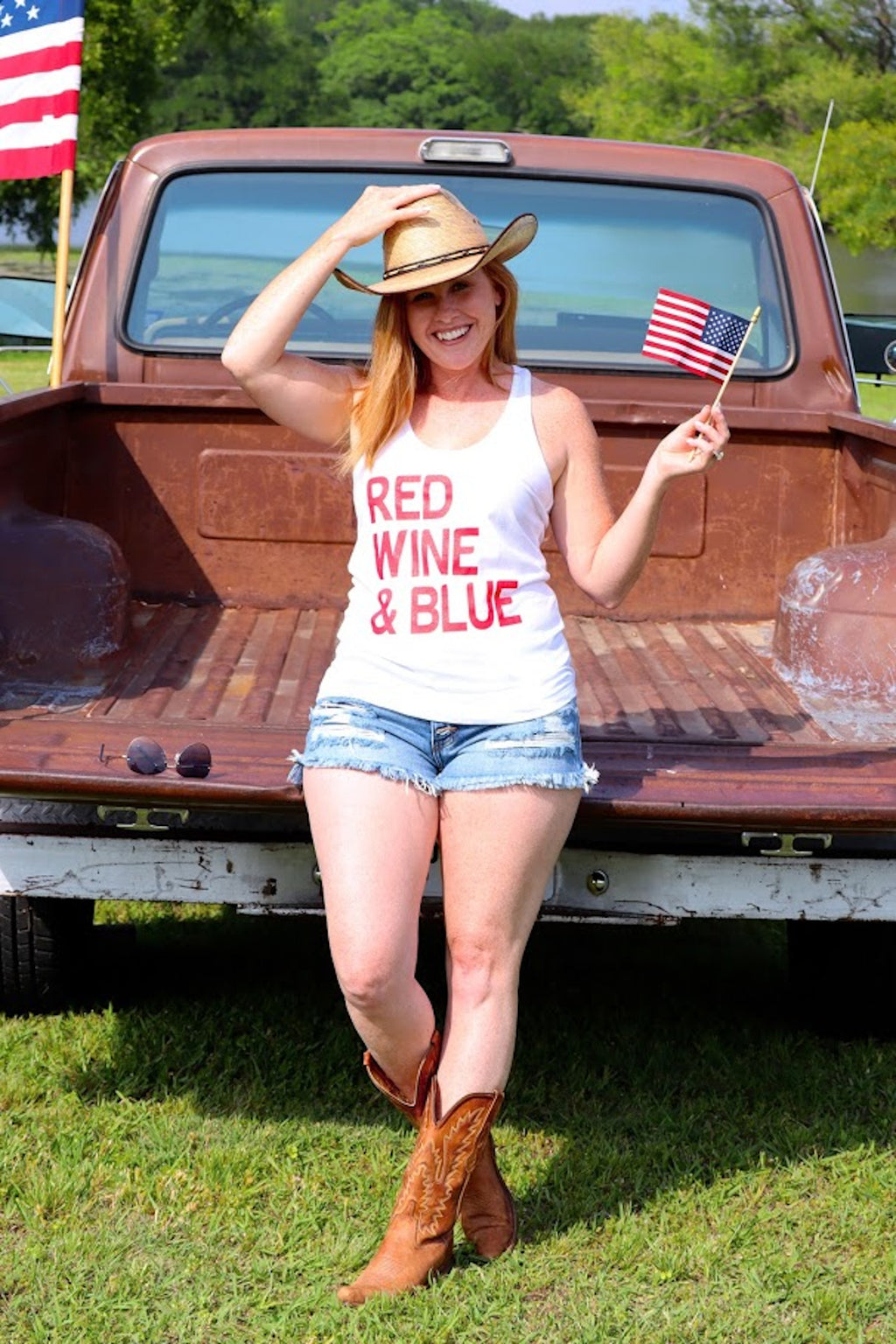 RUBY'S RED WINE & BLUE TANK TOP - WHITE
