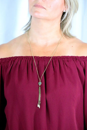 GRACE'S GOLD TASSEL NECKLACE - GOLD & LABRADORITE