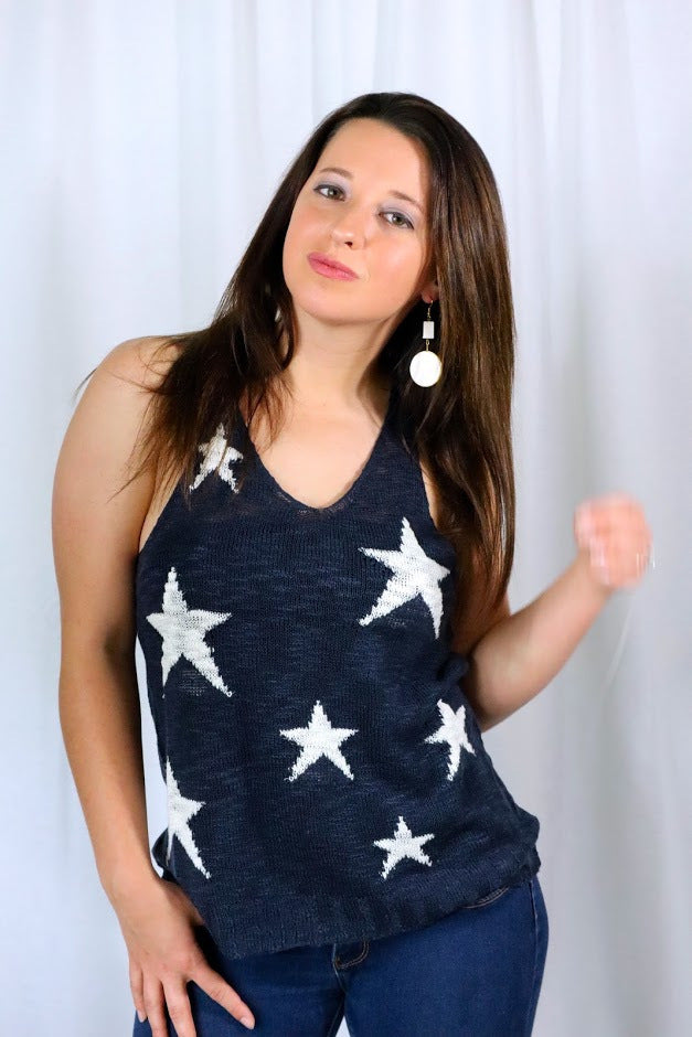 STARLEY'S STAR STYLE TANK TOP - NAVY