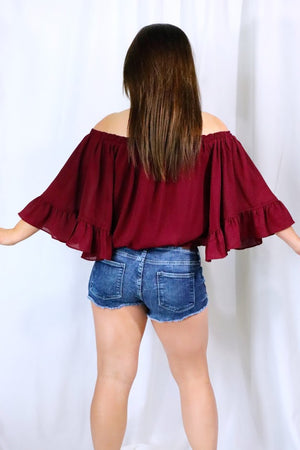 RACHEL'S RED OFF THE SHOULDER BLOUSE - RED WINE
