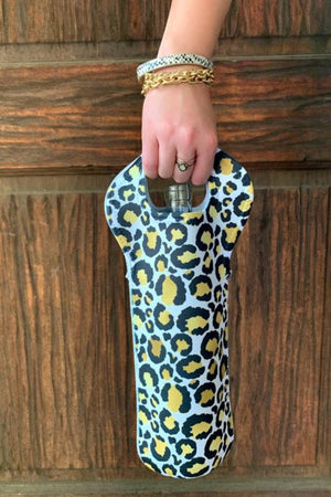 HEATHER'S HANDY CHEETAH WINE TOTE  - WHITE