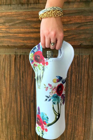 HEATHER'S HANDY FLORAL SKULL WINE TOTE - WHITE