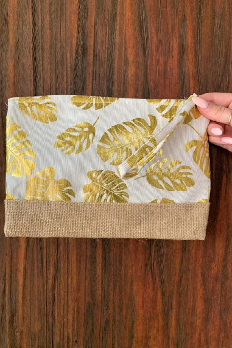 HAILEY'S HAWAIIAN CLUTCH - CREAM/GOLD