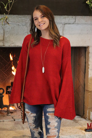 BREANNA'S BELL SLEEVE SWEATER - RED