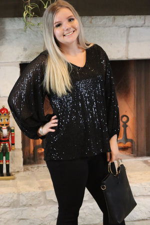 CAROL'S COOL SEQUIN TOP - BLACK OR EMERALD