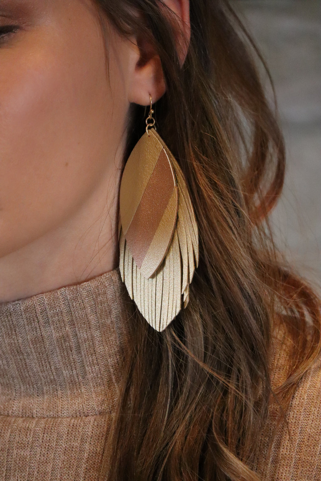 LAURA'S LAYERED FRINGE EARRINGS - GOLD/ROSE GOLD