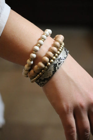 "STEPHANIE'S ""SET"" BRACELETS - BEIGE & GOLD"