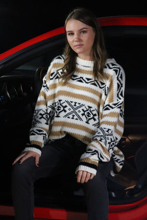 ANGIE'S OVERSIZED AZTEC SWEATER - WHITE, BLACK, TAN