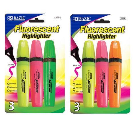 Bazic Fluorescent Highlighter 3 pack - Assorted Colours