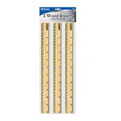 BAZIC 30cm Wooden Ruler (3/Pack)
