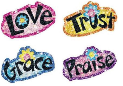 CD-2151 Faith Words Dazzler Stickers