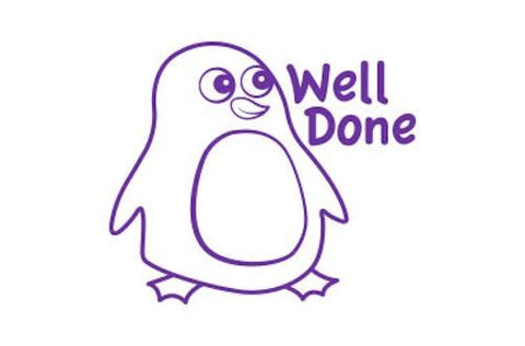 SPST01 Well Done Penguin self inking stamper, purple colour