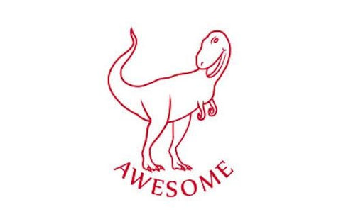SPST07 Awesome Dinosaur, self inking stamper, red colour