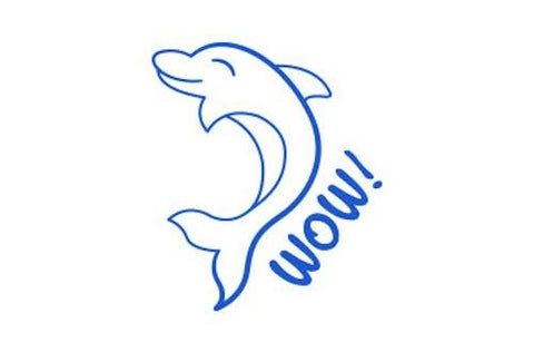 SPST15 WOW Dolphin, self inking stamper, blue colour