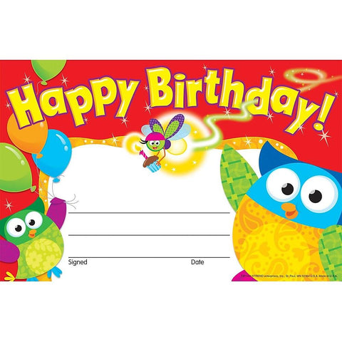 Trend T-81044 Happy Birthday Owl Certificates