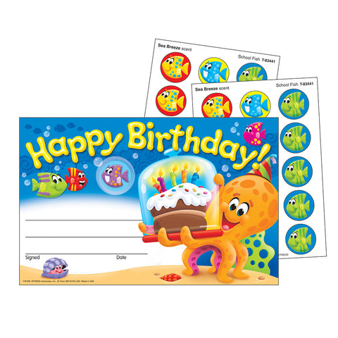 T81302 Marine Happy Birthday Scratch and Sniff Certificate
