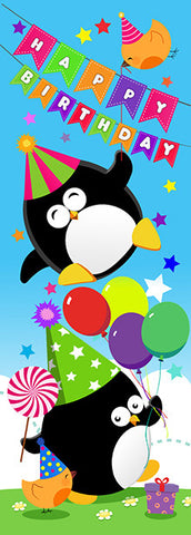 DL005 Penguins Happy Birthday Stickers 35mm