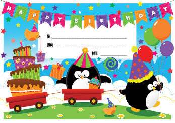 DCX19 Penguin Birthday Certificate