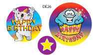 DE26 Reward Stickers: Happy Birthday