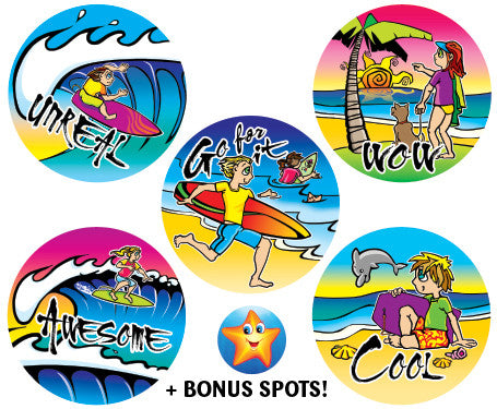 DE3  Reward Stickers: Beach Kids